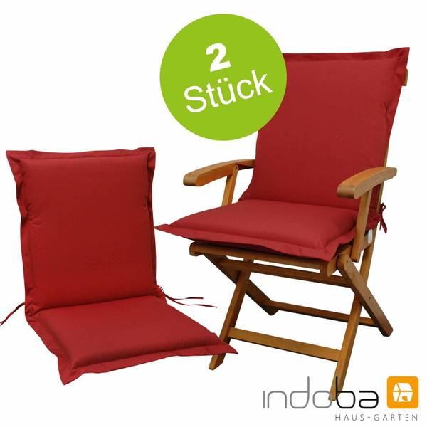 2 x indoba - Sitzauflage Niederlehner Serie Premium - extra dick - Rot