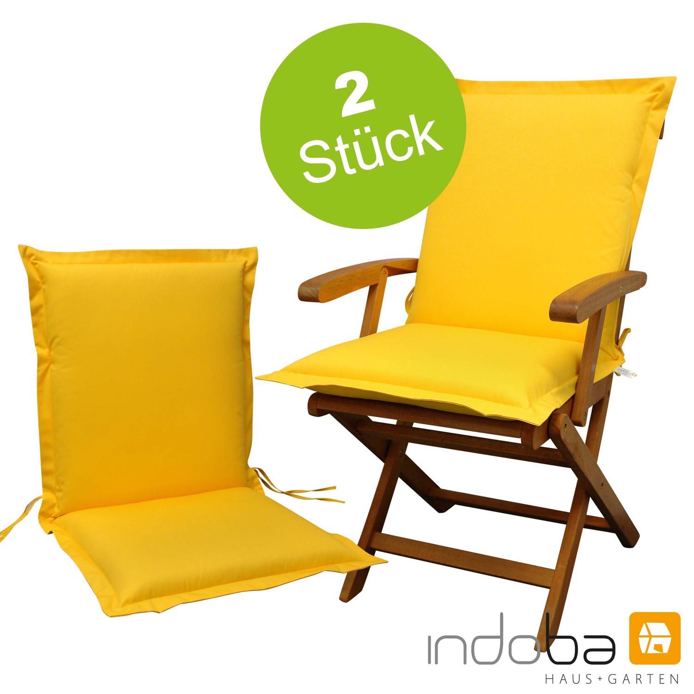 2 x indoba - Sitzauflage Niederlehner Serie Premium - extra dick - Gelb