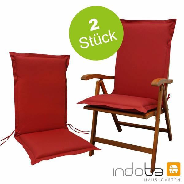 2 x indoba - Sitzauflage Hochlehner Serie Premium - extra dick - Rot