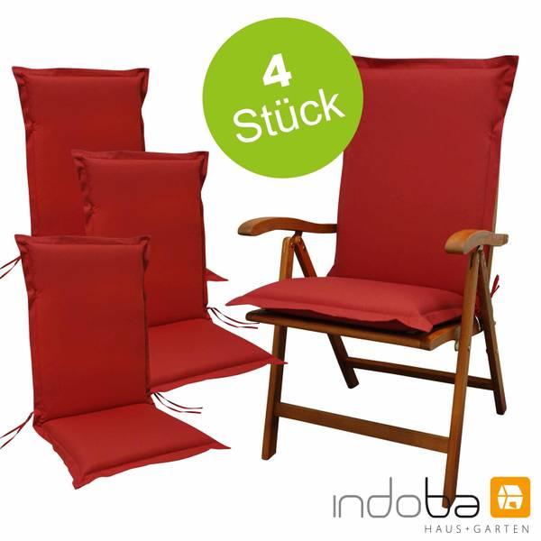 4 x indoba - Sitzauflage Hochlehner Serie Premium - extra dick - Rot
