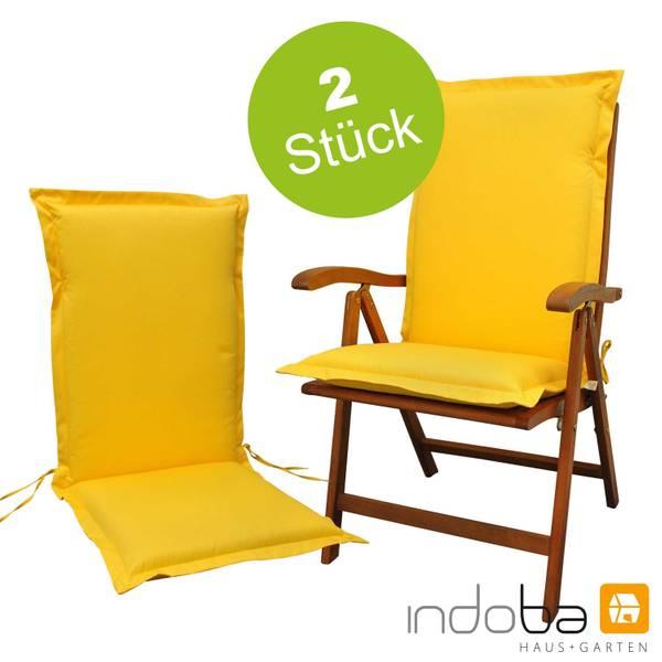 2 x indoba - Sitzauflage Hochlehner Serie Premium - extra dick - Gelb