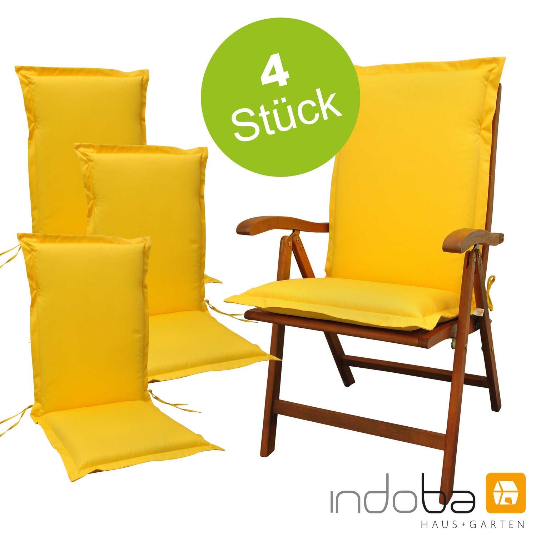 4 x indoba - Sitzauflage Hochlehner Serie Premium - extra dick - Gelb