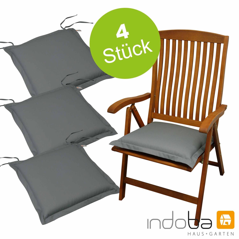 4 x indoba - Sitzkissen Serie Premium - extra dick - Grau