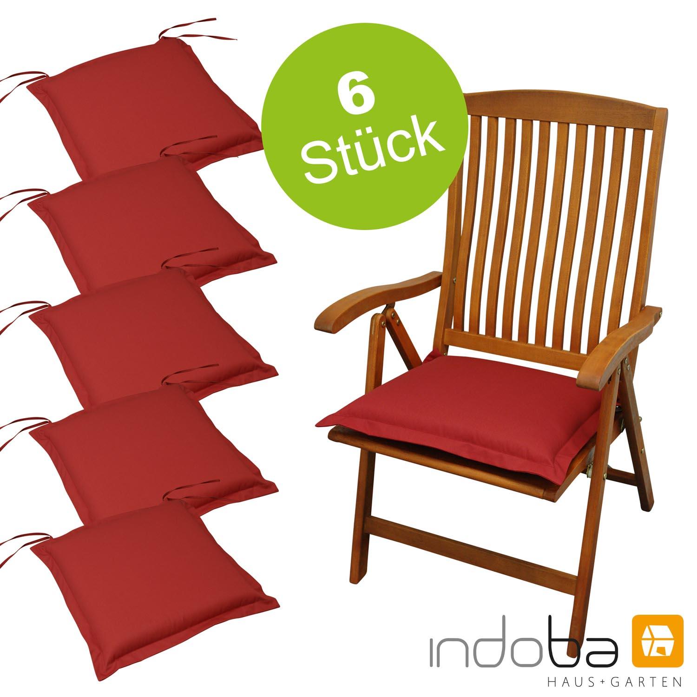 6 x indoba - Sitzkissen Serie Premium - extra dick - Rot