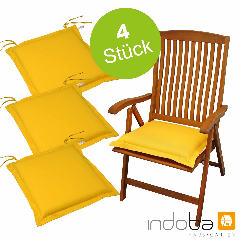 4 x indoba - Sitzkissen Serie Premium - extra dick - Gelb