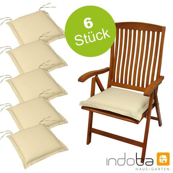 6 x indoba - Sitzkissen Serie Premium - extra dick - Beige
