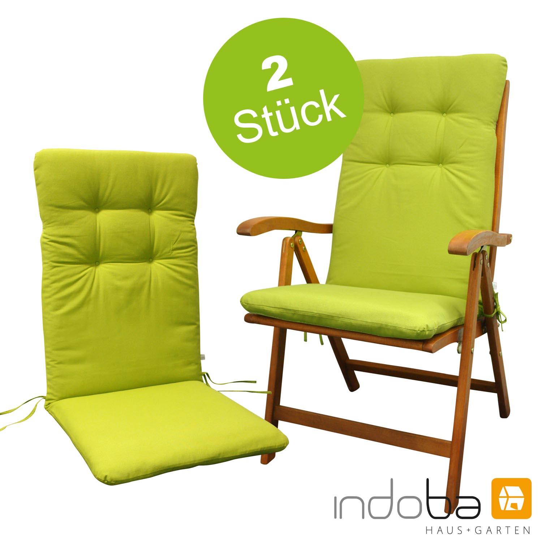 2 x indoba - Sitzauflage Hochlehner - Serie Relax - Grün