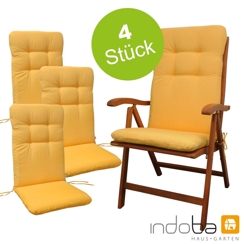 4 x indoba - Sitzauflage Hochlehner - Serie Relax - Gelb