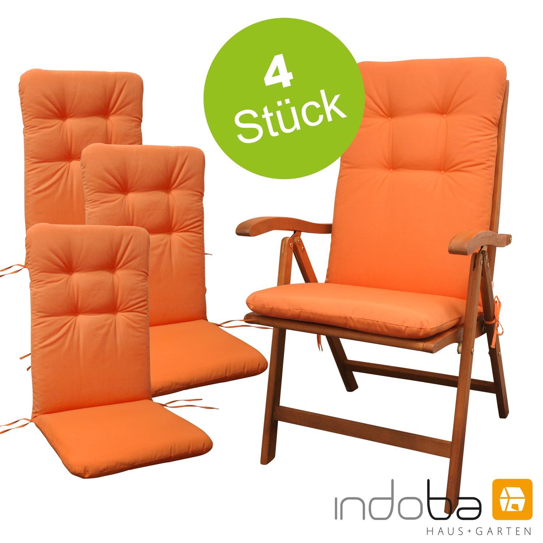 4 x indoba - Sitzauflage Hochlehner - Serie Relax - Orange