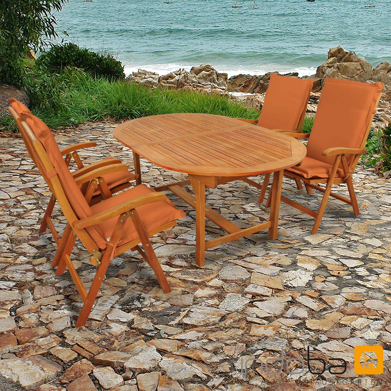 Gartenmöbel Set 9-teilig Sun Flair mit Auflagen Premium Terra