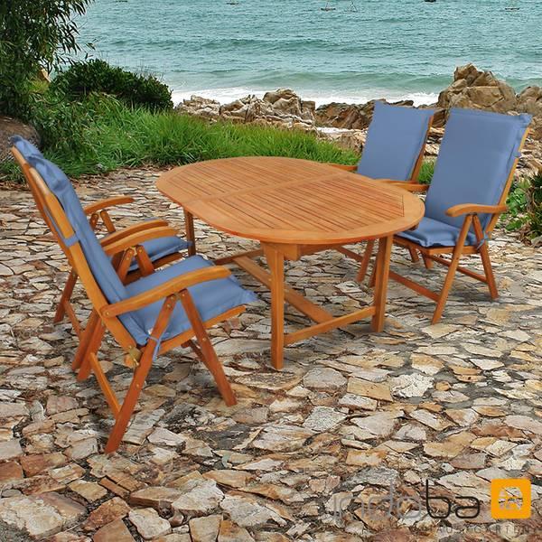 Gartenmöbel Set 9-teilig Sun Flair mit Auflagen Premium Blau