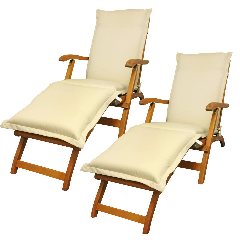 2x Deck Chair Sun Flair inkl. Polsterauflage Premium - Beige