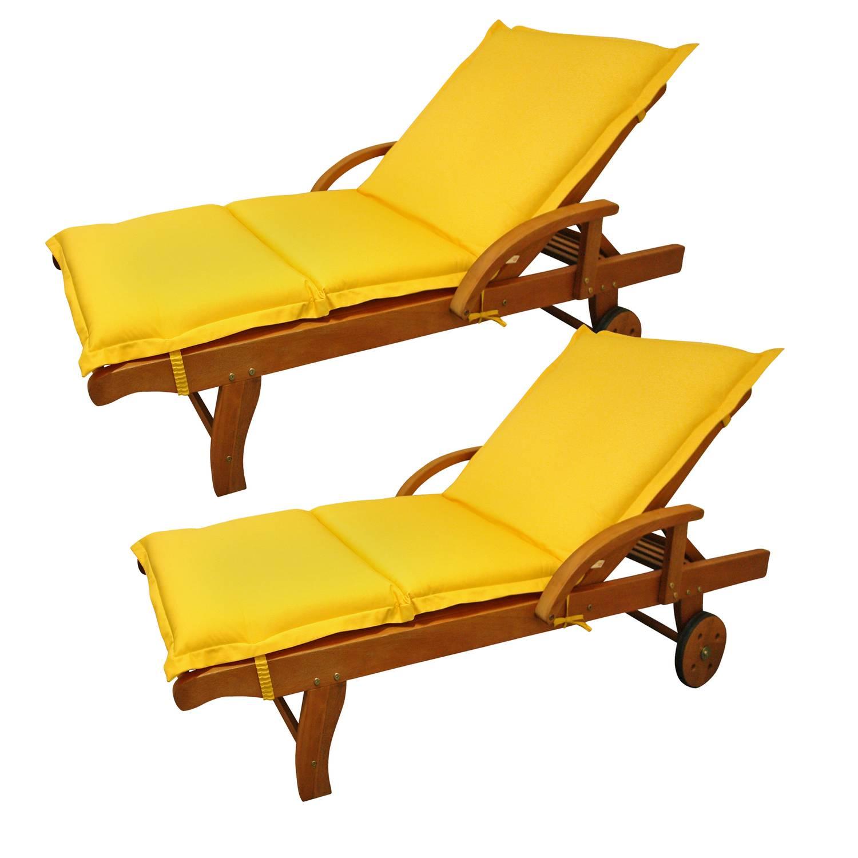 2x Gartenliege Sun Flair inkl. Polsterauflage Premium - Gelb