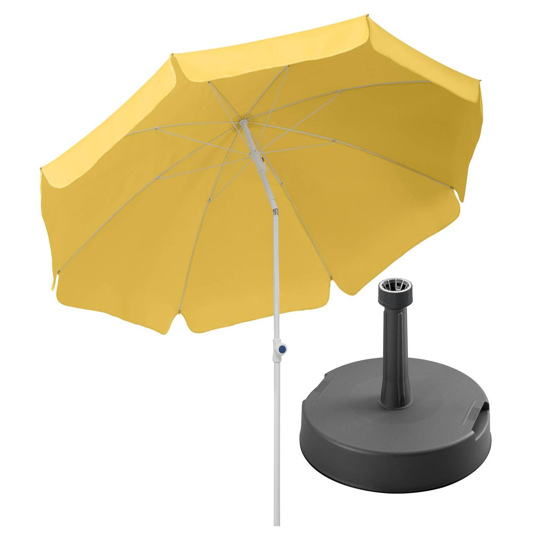 Sonnenschirm Ibiza 200/8 goldgelb + Betonständer anthrazit