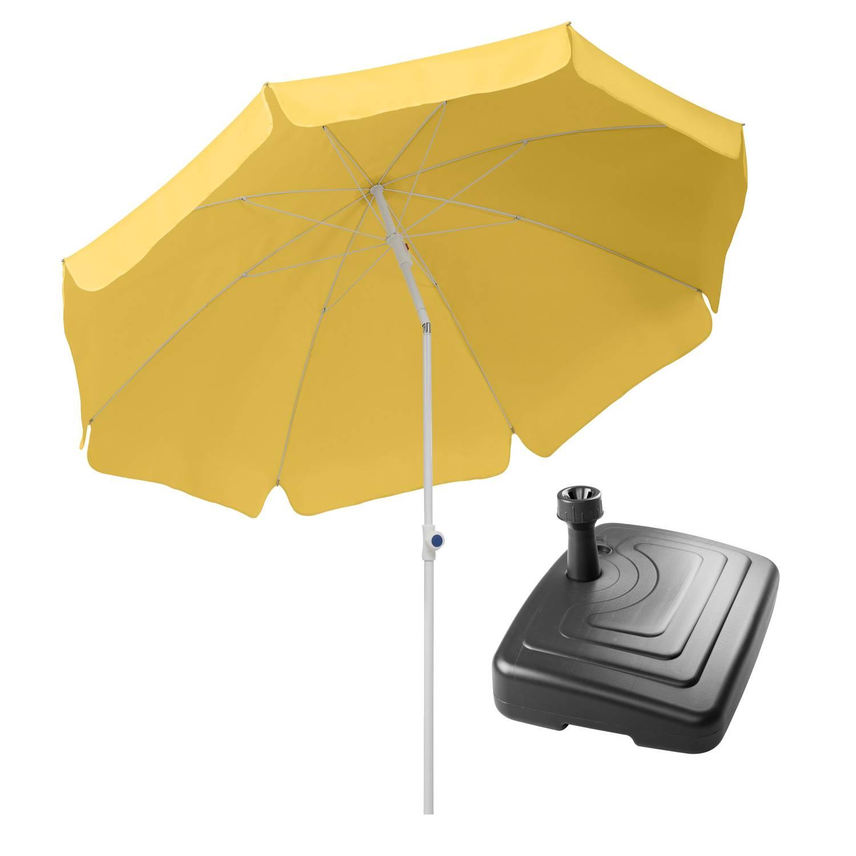Sonnenschirm Ibiza 200/8 goldgelb + PE-Balkonständer anthrazit