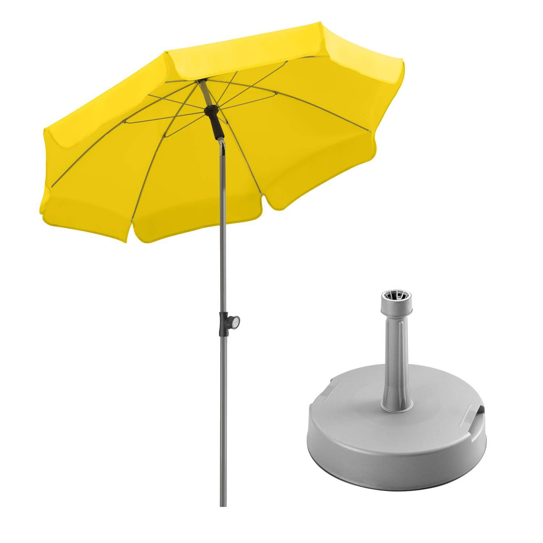 Sonnenschirm Locarno 150/8 zitrus + Schirmständer silbergrau