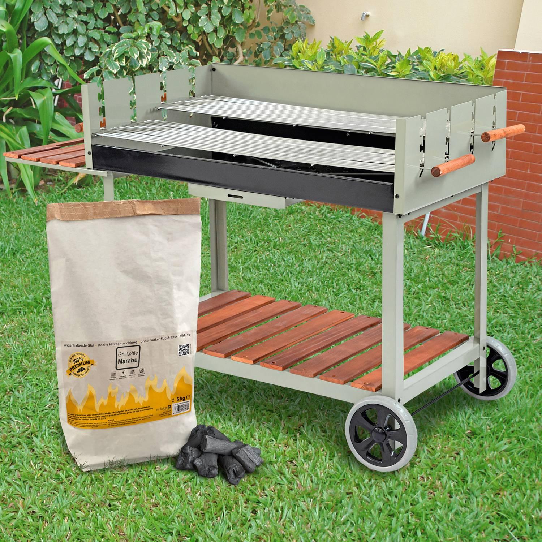 Grillwagen Calor mit 15 Kilogramm Premium Marabu Holzkohle im Set