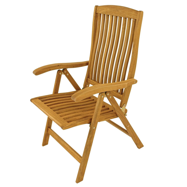 Details zu 2 x Gartenstuhl Hochlehner 5 fach verstellbar Position Chair Holz Akazie Balkon