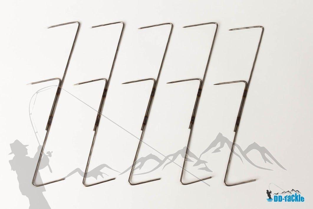 5 Stück Edelstahl 19cm Doppelspitz Räucherhaken