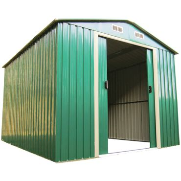 Gartenhaus Geräteschuppen 5,3m² 2,5x2m aus verzinktem Stahlblech Metall grün