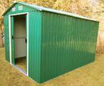 Gartenhaus Geräteschuppen 11m² 3x3,65m aus verzinktem Stahlblech Metall grün - Bild 4