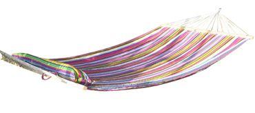 DESIGN Hängematte 120x200cm gefüttert mit Kopfkissen PINK gestreift aus Baumwolle