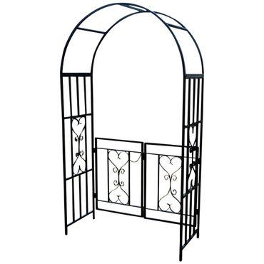 Eleganter Rosenbogen Rankhilfe mit Tür aus Metall schwarz Mod. 5044-G