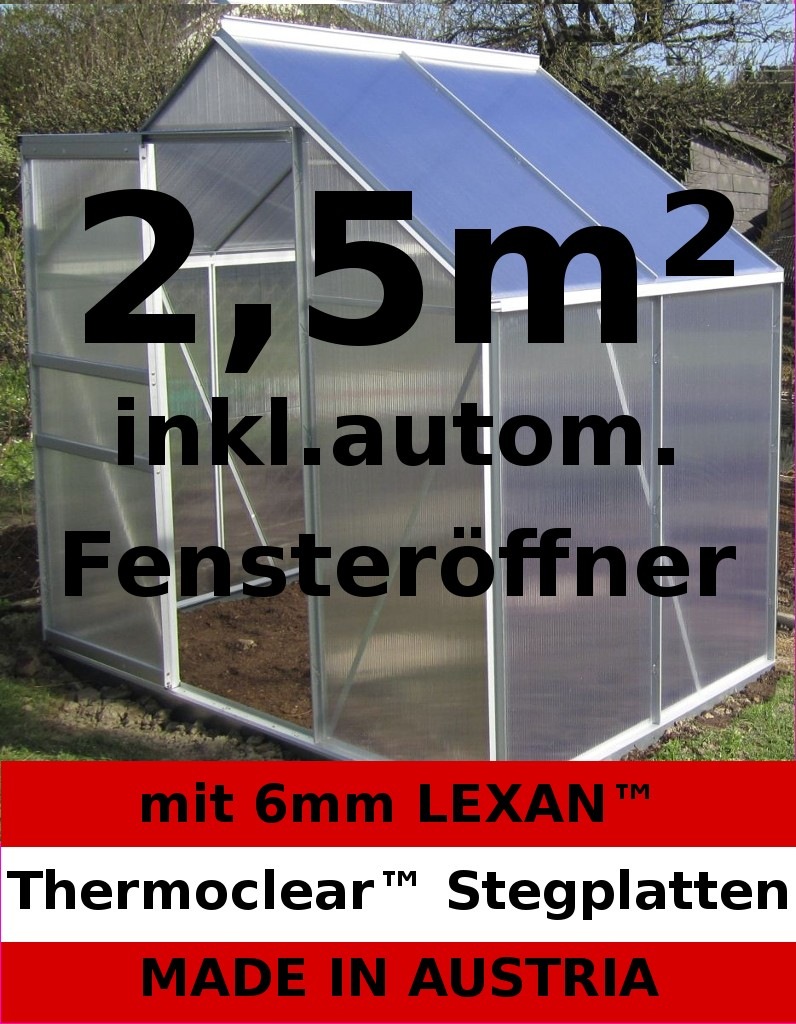 2 5m alu gew chshaus tomatenhaus glashaus 6mm stegplatten autom fenster ffer ebay. Black Bedroom Furniture Sets. Home Design Ideas