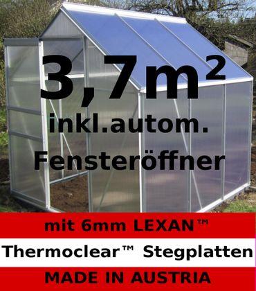 3,7m² ALU Aluminium Gewächshaus Glashaus Tomatenhaus, 6mm Hohlkammerstegplatten - (Platten MADE IN AUSTRIA/EU) mit 1 Fenster und autom. Fensteröffner – Bild 1