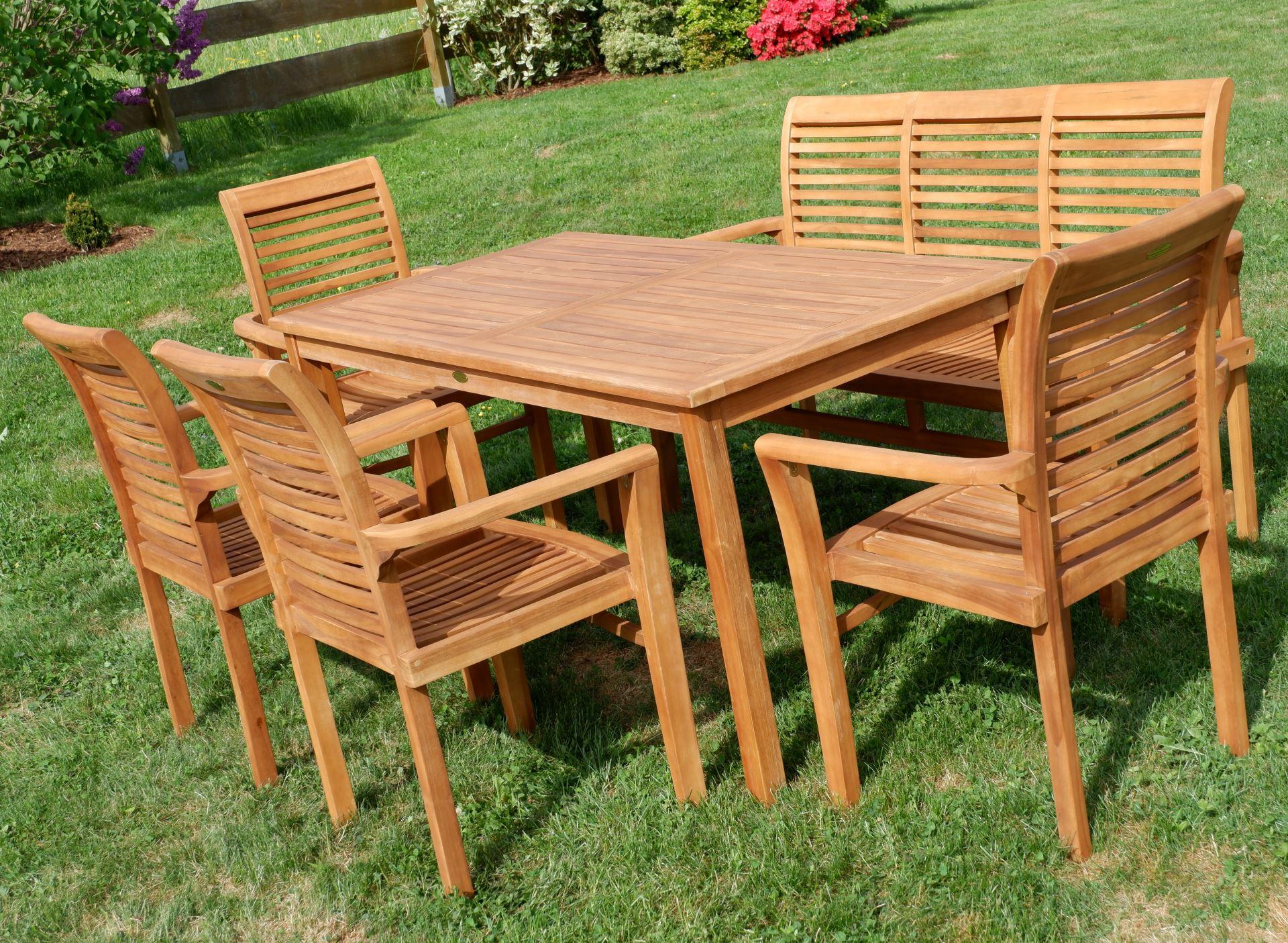 Teak Set Gartengarnitur Gartentisch 150x80 Cm 1 Bank 150 Cm Für 3