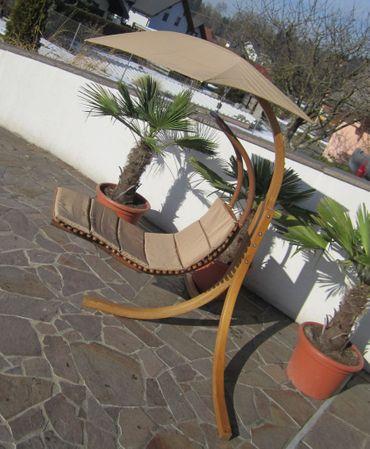 DESIGN Hängeliege NAVASSA mit Gestell aus Holz Lärche komplett mit Hängeliege und Dach – Bild 4