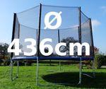Outdoor Gartentrampolin Trampolin XXL - 436cm / 427cm komplett inkl. Sicherheitsnetz und Leiter TÜV geprüft mit 4 U-Form Standfüßen - Bild 2