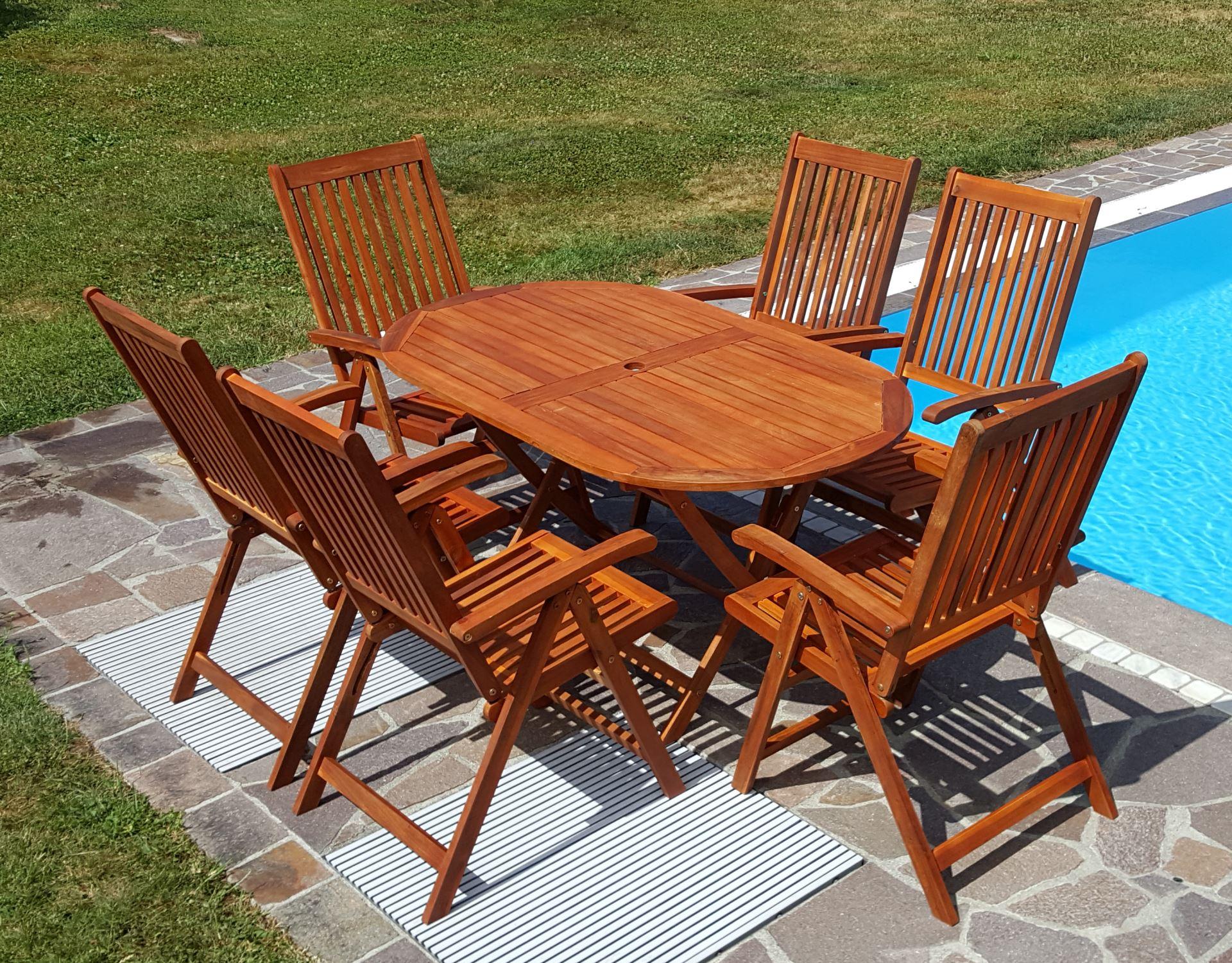 Gartengarnitur Tisch 150x85cm + 6 Hochlehner 7-fach verstellbar LIMA ...