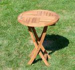 ECHT TEAK Gartentisch Klapptisch Holztisch Gartentisch Tisch rund 60cm JAV-COAMO - Bild 2