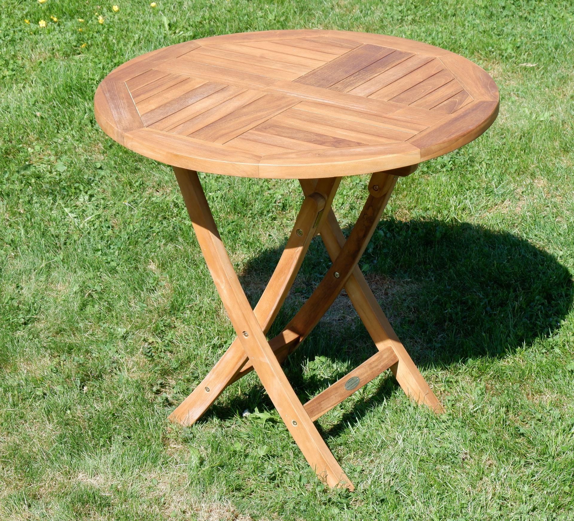 Holztisch Gartentisch.Echt Teak Gartentisch Klapptisch Holztisch Gartentisch Tisch Rund 80cm Jav Coamo