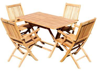TEAK Gartengarnitur Klapptisch 120x70cm + 4 Klappsessel mit Armlehne JAV-AVES Holz geölt