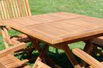 TEAK SET: Gartengarnitur Klapptisch 80x80 + 4 Klappsessel mit Armlehne Holz AVES80+4S - Bild 3
