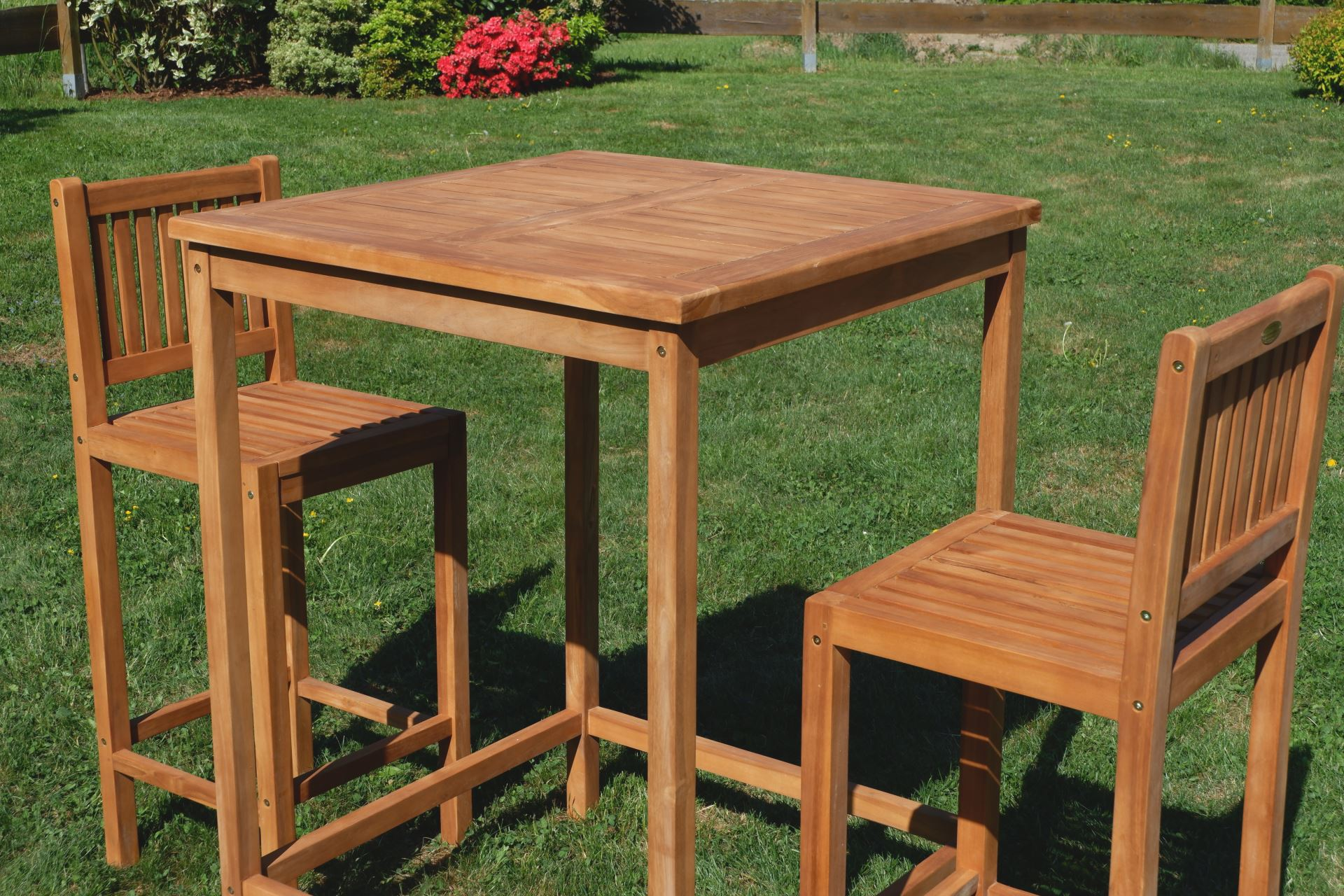 bar set teak bartisch bistrotisch stehtisch 80x80cm mit. Black Bedroom Furniture Sets. Home Design Ideas