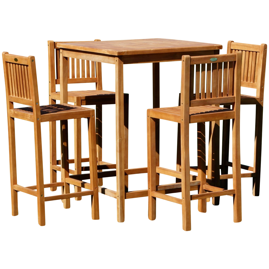 xl bar set teak bartisch bistrotisch stehtisch 80x80cm mit 4x barhocker holz modell jav bima. Black Bedroom Furniture Sets. Home Design Ideas