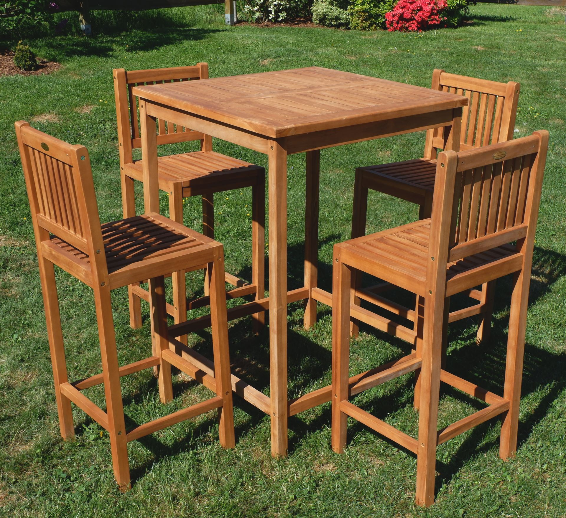 xl bar set teak bartisch bistrotisch stehtisch 80x80cm. Black Bedroom Furniture Sets. Home Design Ideas