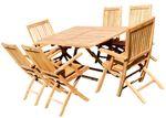 TEAK SET: Gartengarnitur Klapptisch 140x80 + 6 Klappsessel mit Armlehne Holz JAV-AVES - Bild 1