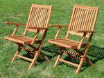 TEAK SET: Gartengarnitur Klapptisch 140x80 + 6 Klappsessel mit Armlehne Holz JAV-AVES - Bild 6