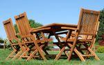 TEAK SET: Gartengarnitur Klapptisch 140x80 + 6 Klappsessel mit Armlehne Holz JAV-AVES - Bild 4