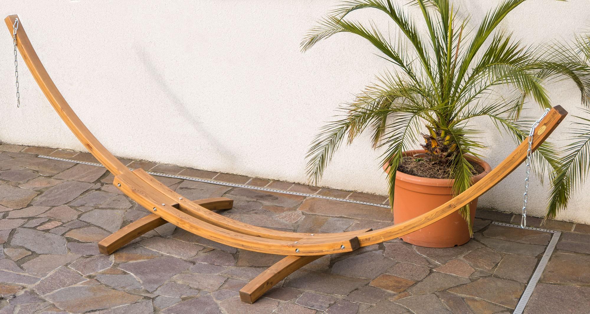 415cm Xxl Luxus Hangemattengestell Panama Aus Holz Larche Coffee
