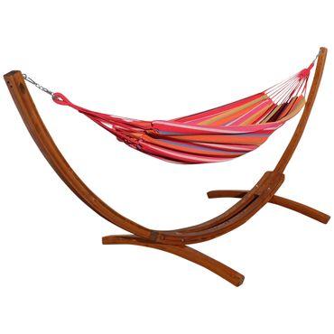 350cm Hängemattengestell MONA aus Holz Lärche mit bunter Tuch Hängematte – Bild 1