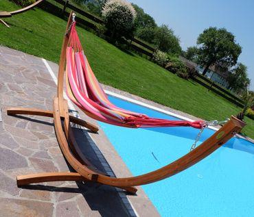 350cm Hängemattengestell MONA aus Holz Lärche mit bunter Tuch Hängematte – Bild 5