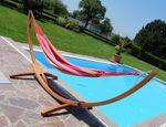 350cm Hängemattengestell MONA aus Holz Lärche mit bunter Tuch Hängematte - Bild 8