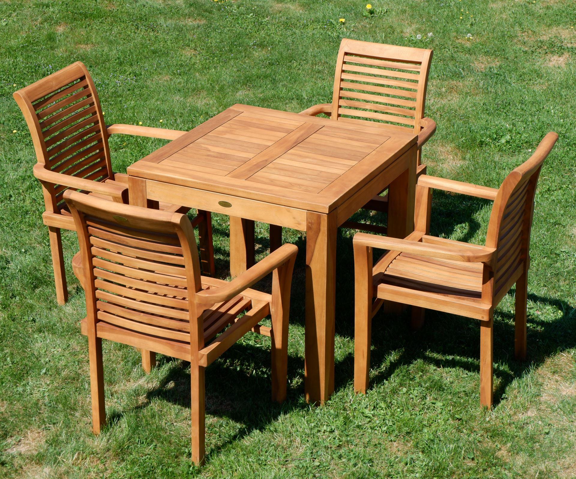 ECHT TEAK Set Gartentisch 80x80cm + 4x Sessel ALPEN Alles für Garten ...