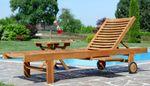 Hochwertige TEAK Sonnenliege Gartenliege Strandliege Liegestuhl Holzliege Holz sehr robust Modell: COZY+ Beistelltisch 45x45cm - Bild 3