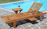 Hochwertige TEAK Sonnenliege Gartenliege Strandliege Liegestuhl Holzliege Holz sehr robust Modell: COZY+ Beistelltisch 45x45cm - Bild 4